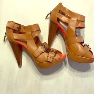 Double buckle,zipper back guess heels